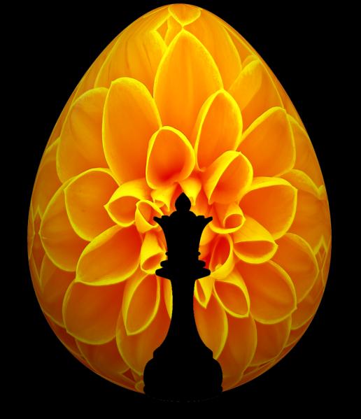 Chess Queen Flower Easter Egg
