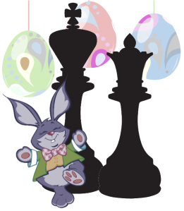 Easter Bunny with Chess King and Queen Clipart