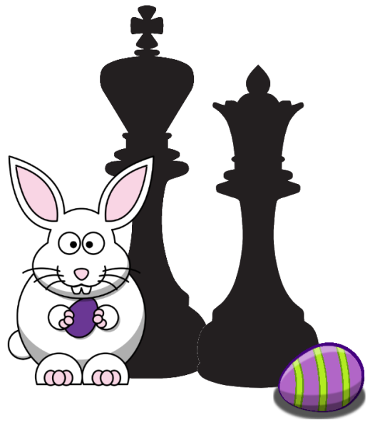 Easter Bunny with Chess King and Queen