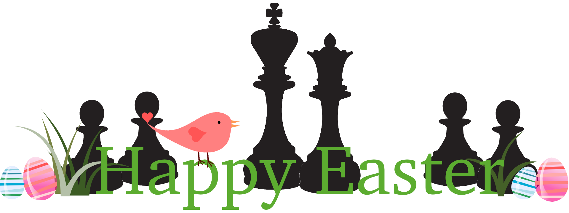 Happy Easter Chess Pieces Clipart